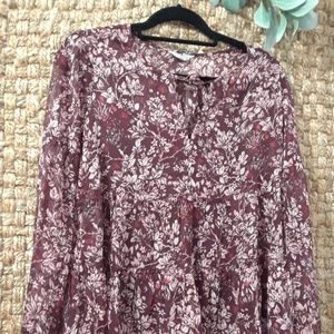 Lucky Brand floral print long sleeve peasan Blouse